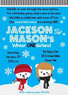 Cute animal polar bear cubs winter onederland (Wonderland) first birthday invitation for twins.  Great boy birthday theme