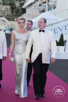 Prince Albert II and Princess Charlene of Monaco attended the...