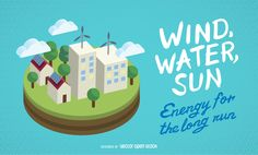 Green technology poster that features a few small houses and buildings using renewable energy sources like solar panels and windmills. On the side it says