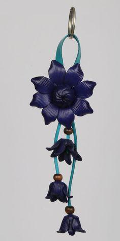 Dark Blue Leather Flower Keychain/Purse Charm by LeatherAX on Etsy