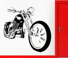 Wall Sticker Vinyl Decal Bike Chopper Motocycle Rock Decor For Man Unique Gift (z2238)