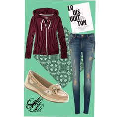 School #3 by alexndraslifer on Polyvore featuring American Eagle Outfitters, Ted Baker, Sperry Top-Sider and Louis Vuitton