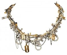 Tom Binns - SMALL PUNK CHIC NECKLACE WITH GOLD RAZOR BLADES