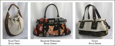 Examples of Styles Ellen Tracy, Ferragamo and Coach bags