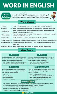 Words: Definition, Classes, Formation And Forms Of Words - 7 E S L Teaching English Grammar, English Writing Skills, Grammar Lessons, English Language Learning, Writing Lessons, English Lessons, French Lessons, Spanish Lessons, English Class