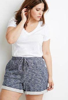 Marled Drawstring Shorts | Forever 21 PLUS - 2000131077