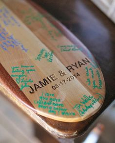 Jamie came up with the idea of using a wooden oar instead of a traditional guest book for everyone to sign at this Montana wedding. Instructions were set out encouraging people to leave their mark for Jamie and Ryan as they navigate the waters of life together. Woodworker Chris Kitchens not only handcrafted the piece, but drove a couple of hours to the bride's mom's house to deliver it in person so as to avoid any possible damage before the wedding. After the event and before leaving on…
