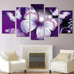344212c8a83 HD Printed purple butterfly Painting Canvas Print room decor print poster  picture canvas Free shipping ny-2882. Wall ...