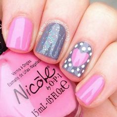 Pink and grey nails with pink heart artnail
