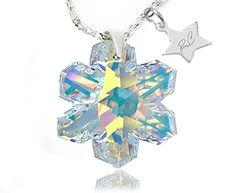 Sterling Silver Snowflake Pendant Necklace with RC Star and Aurora Borealis Swarovski Crystals Elements - http://www.sparklingheaven.com/necklaces/sterling-silver-snowflake-pendant-necklace-with-rc-star-and-aurora-borealis-swarovski-crystals-elements/ - Sterling Silver, Swarovski