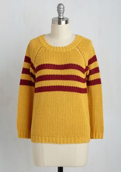 Mind Over Alma Mater Striped Sweater in Marigold. You were a force to be reckoned with at school - with willpower, wisdom, and wonderful style in this marigold sweater, which is part of our ModCloth namesake label. #yellow #modcloth