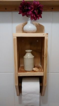 Rustic Coastal Reclaimed Upcycled Wood Toilet Roll Holder with Shelf by TeresaJames on Etsy