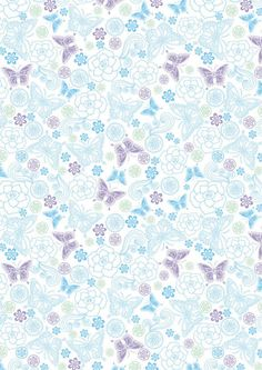 Blue and lilac butterflies scrapbook paper