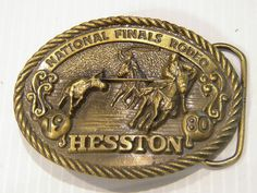Vintage Cowboy Belt Buckle - Hesston NFR 1980 National Finals Sixth Edition