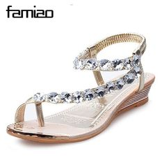 6ead4bf84e9 FAMIAO Women Summer Sandals Blingbling Crystal Platform Wedges Shoes Woman  Golden Sliver Slip On Flip Flops