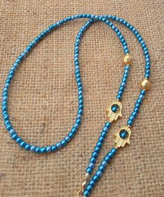 Hamsa Hand Eyeglass Chain Eyeglass Chain Holder Blue Bead Beaded Eyeglass Chain Glasses Chain Eyeglass Necklace Gift for Woman Waist Jewelry, Beaded Jewelry, Beaded Bracelets, Eyeglass Holder, Stylish Rings, Jewelry Quotes, Jewelry Model, Hamsa Hand, Blue Beads