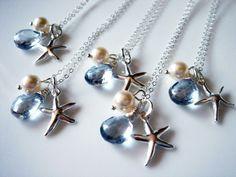 5 Beach Theme Wedding Starfish Blue Topaz 925 Necklace