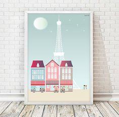 Paris, IMPRIMIBLE, lamina Paris, torre eiffel, cafe, te, cafeteria, luna, ciudades, laminas decorativas, casas, cuadros, decoracion