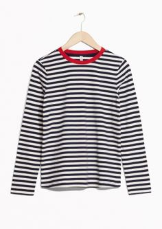 & Other Stories image 2 of Striped Sweater  in Black SMALL