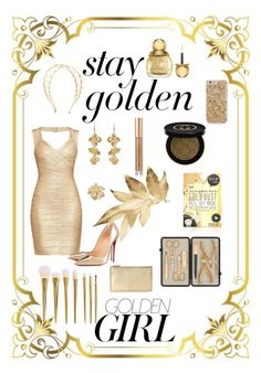 """Golden Girl"" by triplee2017 ❤ liked on Polyvore featuring beauty, Murphy, Christian Dior, Gucci, Kevyn Aucoin, Czech & Speake, Hervé Léger, Christian Louboutin, Valentino and Lelet NY"