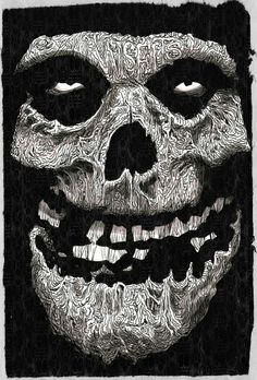 If you look closely you'll see misfits on the forehead Arte Punk, Punk Art, Skull Stencil, Skull Art, Misfits Band, Danzig Misfits, Heavy Metal Art, Extreme Metal, Dark Images