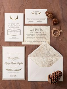 Play up your chosen wedding destination in big (hello, maps) and small ways. A neutral palette is perfect for mixing motifs and typography, while gold foil details add a hint of formality and make each piece of the suite feel extra special.