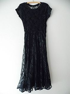 Lace Dress Size Medium Beaded Black Cocktail Party Steampunk Formal Cruise Sheer #Unknown #CocktailParty #LittleBlackDress