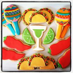 "Pinner wrote, ""Wicked, cool, sugar cookie website"" ~ Oh Sugar Events: Cinco de Mayo Cookies Summer Cookies, Fancy Cookies, Iced Cookies, Cute Cookies, Royal Icing Cookies, Holiday Cookies, Cupcake Cookies, Churro Cupcakes, Cupcake Art"