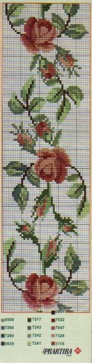 Layette Cross Stitch by Nubia Cortinhas: floral cross stitch chart Cross Stitch Bookmarks, Cross Stitch Rose, Cross Stitch Borders, Cross Stitch Flowers, Cross Stitch Charts, Cross Stitch Designs, Cross Stitching, Cross Stitch Embroidery, Cross Stitch Patterns