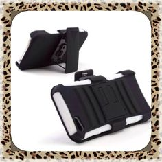 Hard Soft Hybrid Case cover with stand + belt clip holster For Iphone 5 5G 5S #UnbrandedGeneric