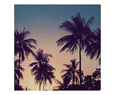 Placa Decorativa Palm Trees Blue - 20X20cm