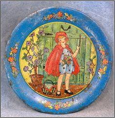 "Tin Ohio Art ""Little Red Riding Hood"" Tea Set Tray from 1930!"