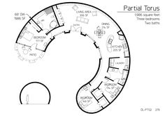 "Floor Plan: DL-PT02 Staff • Published on Apr 1, 2013 • ""Torus"" and ""Partial Torus"" Series  Partial Torus Series dome home 1,986 square feet Three bedrooms Two baths"