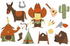 Cowboy clip art pack Digital Print by Picturesofpelicans on Etsy