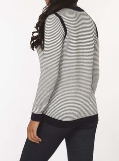 Womens Navy And Ivory Stripe Jumper- Blue