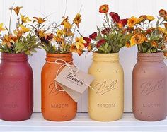 Fall Decor, Autumn Ombre Rustic Painted Mason Jars, Mason Jar Centerpiece, Fall Wedding Decor, Fall Bridal Shower - YOU PICK 2, 3 or 4!