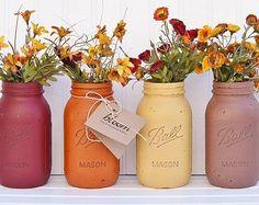 Fall Decor, Autumn Ombre Rustic Painted Mason Jars, Mason Jar Centerpiece, Fall Wedding Decor, Fall Bridal Shower - YOU PICK 2, 3 or 4!