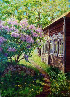 Russian Painting, Russian Art, Great Paintings, Landscape Paintings, San Bernardo, Beautiful Nature Pictures, Black Butler, Garden Painting, Learn Art
