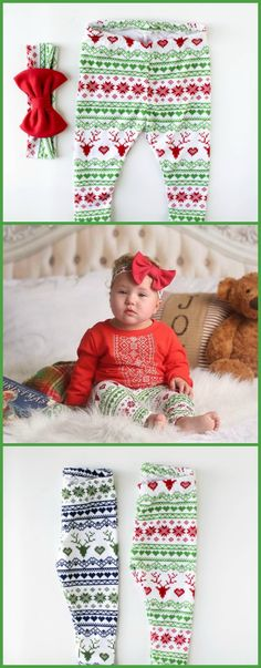 Adorable baby girl baby's first Christmas outfit - winter reindeer leggings. Matching Christmas hair bow! #ad
