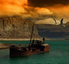 Abandoned ship . Demyanskoe, East Prussia.