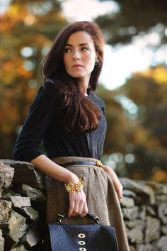 Sarah Vickers in a classy fall outfit