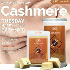 Relax and unwind with our happy hour scent of the day! Cashmere! Warm and cozy scent for the chilly nights! Earn 2x the reward points from 9am -5pm!  Www.jewelryincandles.com/store/sherries-jic-candles #SherriesJicCandles