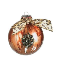 Baroque Alcohol Inked Ornament with Cheetah Ribbon, large
