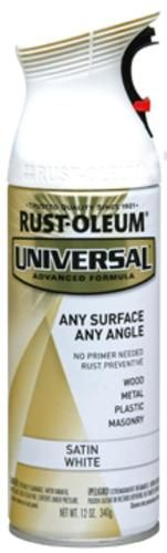 Rust-Oleum® Universal® Satin White Paint and Primer Spray - 12 oz at Menards®: Rust-Oleum® Universal® Satin White Paint and Primer Spray - 12 oz