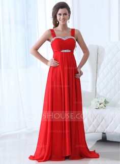 Empire Sweetheart Sweep Train Chiffon Evening Dress With Ruffle Beading (017017358) - JJsHouse