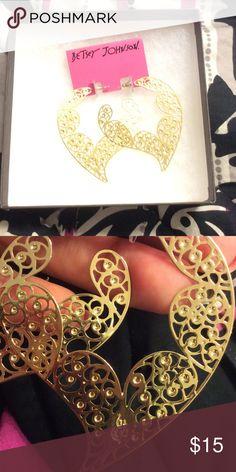 Betsey Johnson earrings Large gold Betsy Johnson earrings. Never worn, bread new condition. Betsey Johnson Jewelry Earrings