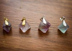 Three Different Fluorite Pendants by HSigneDesigns on Etsy, $5.00