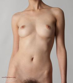 Art Models Trisha in a walk front view. Female nude torso figure reference model.