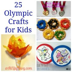25 Olympic Crafts for kids.  Cute ideas for kids to get in the spirit of the summer olympics.