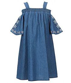 Copper Key Big Girls 716 ColdShoulder FlutterSleeve Embroidered Chambray Dress #Dillards